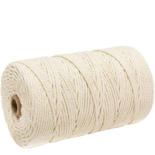 Beige macramé cord and thread spool of 200 meters in cotton